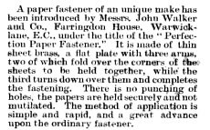 1893 Perfection Paper Fastener The World's Paper Trade Review Vol 20 Nov 24 p. 27.jpg (27291 bytes)