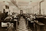 Office with Edison Voicewriter Cylinder Records Model 302 Phones Fluorescent Lights OM.jpg (400208 bytes)