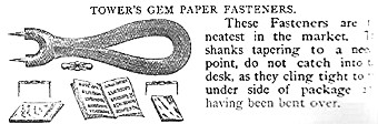 Tower's Gem Paper Fasteners Wright's Australian and American Commercial Directory and Gazetteer 1881.jpg (47205 bytes)