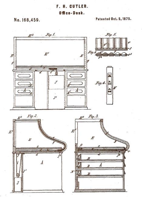 Marvelous 1875_F._H._Culter_Office_Desk_Pat_No_168459_Oct_5_75 (53661 Bytes)