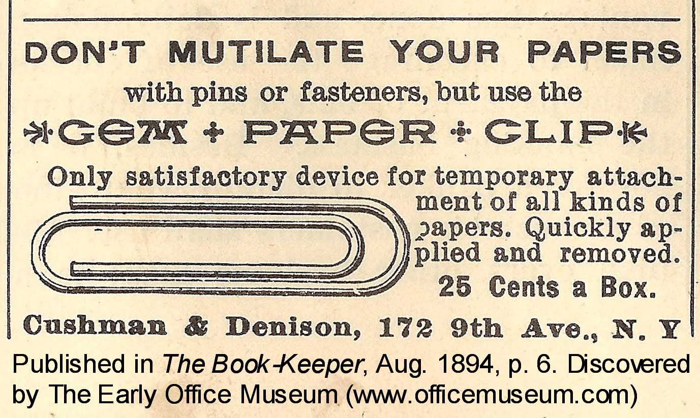 history of paper clips
