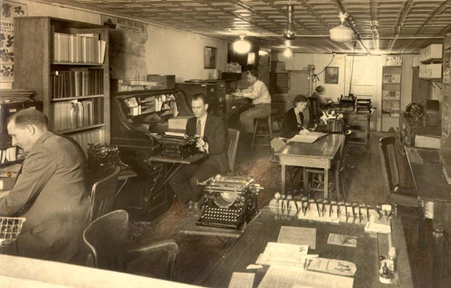 Picture of a vintage newspaper office